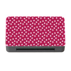 Magenta Rose White Floral Print Memory Card Reader With Cf