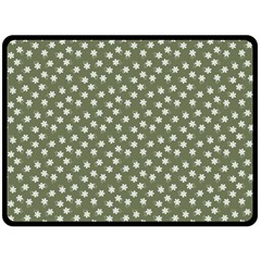 Sage Green White Floral Print Fleece Blanket (large)  by SpinnyChairDesigns