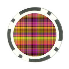 Pink Yellow Madras Plaid Poker Chip Card Guard