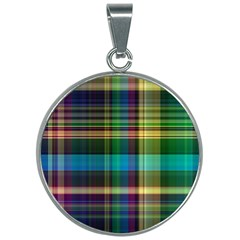 Colorful Madras Plaid 30mm Round Necklace