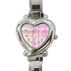 Pink Madras Plaid Heart Italian Charm Watch by SpinnyChairDesigns