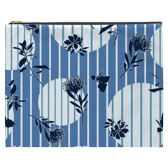 Stripes Blue White Cosmetic Bag (xxxl) by designsbymallika