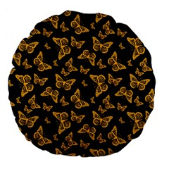 Black Gold Butterfly Print Large 18  Premium Flano Round Cushions by SpinnyChairDesigns
