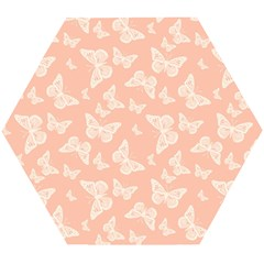 Peaches And Cream Butterfly Print Wooden Puzzle Hexagon