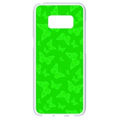 Chartreuse Green Butterfly Print Samsung Galaxy S8 White Seamless Case