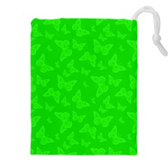 Chartreuse Green Butterfly Print Drawstring Pouch (3xl)