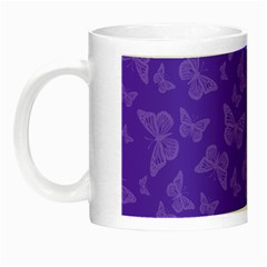Violet Purple Butterfly Print Night Luminous Mugs by SpinnyChairDesigns