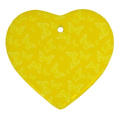 Lemon Yellow Butterfly Print Heart Ornament (two Sides) by SpinnyChairDesigns