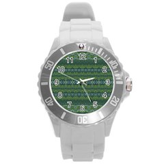 Boho Forest Green  Round Plastic Sport Watch (l)