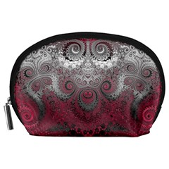 Black Pink Spirals And Swirls Accessory Pouch (large) by SpinnyChairDesigns