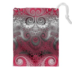 Black Pink Spirals And Swirls Drawstring Pouch (2xl) by SpinnyChairDesigns