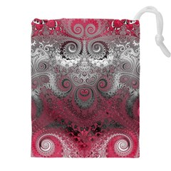 Black Pink Spirals And Swirls Drawstring Pouch (5xl)
