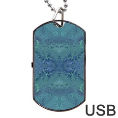 Teal Spirals And Swirls Dog Tag Usb Flash (one Side)