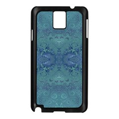 Teal Spirals And Swirls Samsung Galaxy Note 3 N9005 Case (black)