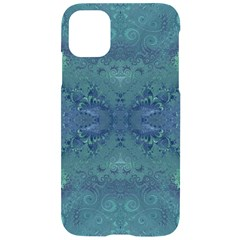 Teal Spirals And Swirls Iphone 11 Black Uv Print Case by SpinnyChairDesigns