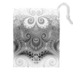 Black And White Spirals Drawstring Pouch (5xl) by SpinnyChairDesigns