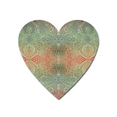 Peach Green Texture Heart Magnet by SpinnyChairDesigns