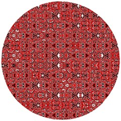 Abstract Red Black Checkered Wooden Puzzle Round by SpinnyChairDesigns