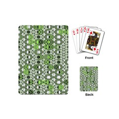 Black Lime Green Checkered Playing Cards Single Design (mini)