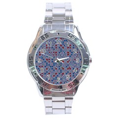 Abstract Checkered Pattern Stainless Steel Analogue Watch