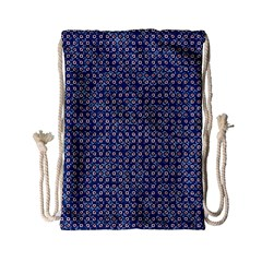 Artsy Blue Checkered Drawstring Bag (small)