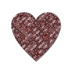 Abstract Red Black Checkered Heart Magnet by SpinnyChairDesigns