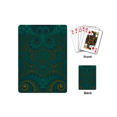 Teal Green Spirals Playing Cards Single Design (mini)