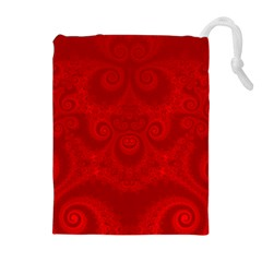 Red Spirals Drawstring Pouch (xl) by SpinnyChairDesigns