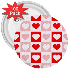 Hearts  3  Buttons (100 Pack)  by Sobalvarro