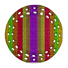 Colors Of A Rainbow Round Filigree Ornament (two Sides)