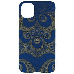 Navy Blue And Gold Swirls Iphone 11 Black Uv Print Case by SpinnyChairDesigns