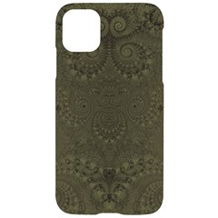 Rustic Green Brown Swirls Iphone 11 Black Uv Print Case by SpinnyChairDesigns