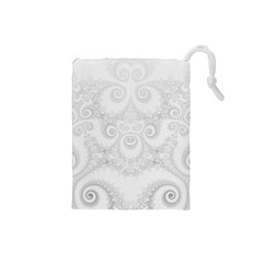 Wedding White Swirls Spirals Drawstring Pouch (small) by SpinnyChairDesigns