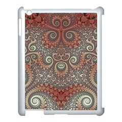 Red And White Color Swirls Apple Ipad 3/4 Case (white) by SpinnyChairDesigns