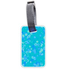 Aqua Blue Floral Print Luggage Tag (two Sides) by SpinnyChairDesigns