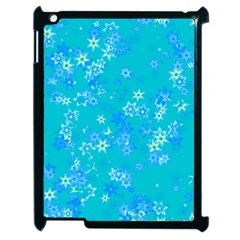 Aqua Blue Floral Print Apple Ipad 2 Case (black) by SpinnyChairDesigns