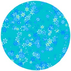 Aqua Blue Floral Print Wooden Puzzle Round by SpinnyChairDesigns