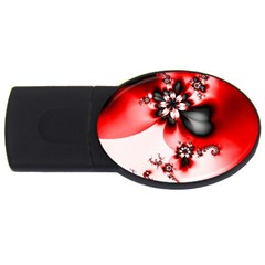 Abstract Red Black Floral Print Usb Flash Drive Oval (2 Gb) by SpinnyChairDesigns