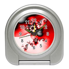 Abstract Red Black Floral Print Travel Alarm Clock by SpinnyChairDesigns