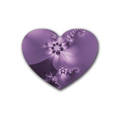 Royal Purple Floral Print Rubber Coaster (heart)  by SpinnyChairDesigns