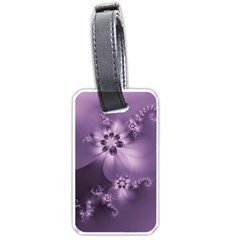 Royal Purple Floral Print Luggage Tag (two Sides) by SpinnyChairDesigns