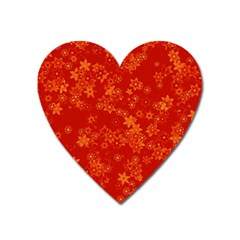 Orange Red Floral Print Heart Magnet by SpinnyChairDesigns