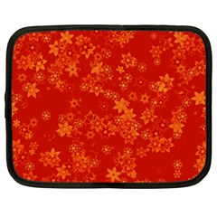 Orange Red Floral Print Netbook Case (xxl)