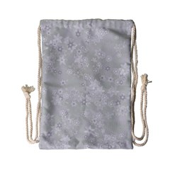 Ash Grey Floral Pattern Drawstring Bag (small)