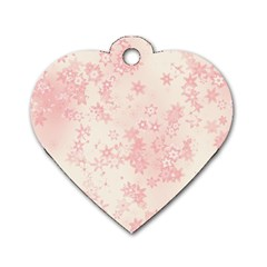 Baby Pink Floral Print Dog Tag Heart (two Sides)