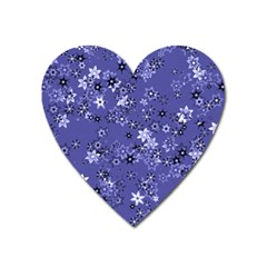 Slate Blue With White Flowers Heart Magnet by SpinnyChairDesigns