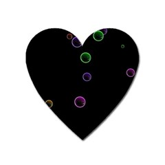 Bubble In Blavk Background Heart Magnet by Sabelacarlos