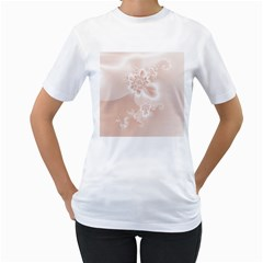Tan White Floral Print Women s T-shirt (white)  by SpinnyChairDesigns