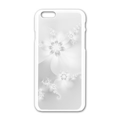 Wedding White Floral Print Iphone 6/6s White Enamel Case by SpinnyChairDesigns