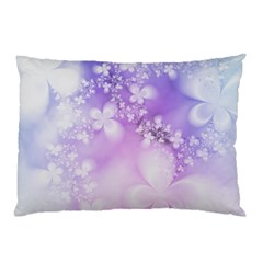 White Purple Floral Print Pillow Case by SpinnyChairDesigns